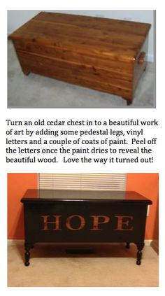 Cedar chest re-do!   ... Can't imagine doing that to my great grandma's cedar chest, but it does look like a nice makeover!