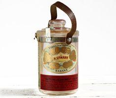 RARE COLLECTOR  H Upmann Cuban Glass Cigar Jar by RueDesLouves, $150.00