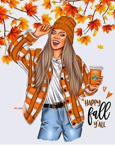 Girl Cartoon, Cute Cartoon, Cartoon Art, Illustrations, Illustration Art, Dibujos Tumblr A Color, Dinosaur Wallpaper, October Art, Fashion Clipart