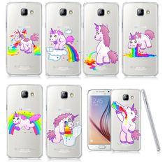 Unicorn Angel Horse Pattern Phone Case For Samsung Galaxy A3 A5 A7 J1 J5 J7 2016 Hippo Rainbow Unicorn Plastic Case Back Cover