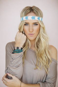 Bohemian Beaded Headband Chevron Stripe Hair by ThreeBirdNest