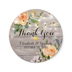 #rustic - #Rustic Wood Floral String Lights Wedding Thank You Classic Round Sticker