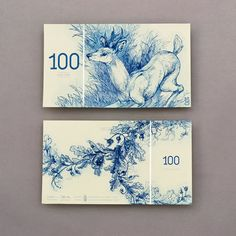 Hungarian Paper Money by Barbara Bernát A series of conceptual Hungarian euro banknotes featuring European anima. Slow Galerie, Etching Prints, Children's Book Illustration, Animal Illustrations, Design Inspiration, Behance, Concept, Graphic Design, Print Design