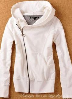 Another way to re-fashion a too large sweatshirt. Cut, pull excess to the side and add a stylish zipper.