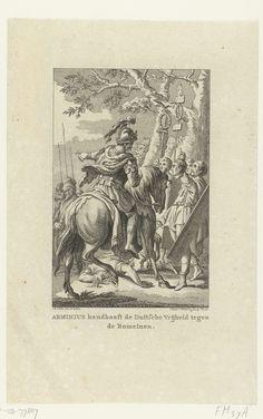 Reinier Vinkeles | De Germaanse veldheer Arminius standvastig tegenover de Romeinen, ca. 10, Reinier Vinkeles, 1751 - 1799 | De veldheer Arminius, leider van de stam der Cherusken, verdedigt de vrijheid van de Germanen tegenover de Romeinen, omstreeks het jaar 10.