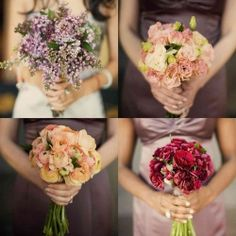 Mismatched bridesmaid bouquets in complementary shades of mauve, pink, and purple. Photo by Leigh Miller.