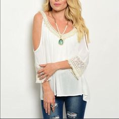 """❗️SHIP DELAY❗️Vanilla Lace Fringe Cold Shoulder Lovely ivory crochet, lace and fringe lightweight cold shoulder top. All the latest trends in one gorgeous top. light &  airy fabric. Vneck front and back - 3/4 sleeves. Will fit S/M Chest 36"""" Length from top of crochet shoulder strap to hem 24"""".  En Creme Tops Blouses"""