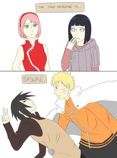 The true heroine here is sasuke