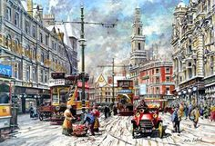 Pete Lapish - Duncan Street - Leeds - West Yorkshire - England - 1905 Yorkshire England, West Yorkshire, Leeds City, Train Tickets, Cartoon Art Styles, Past Life, Where The Heart Is, Trains, Cool Pictures