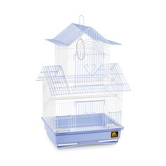 This Prevue Pet Products cage is designed for birds similar to house parakeets and canaries. Featuring a decorative peak style roofline, the cage includes two plastic cups, two perches and a swing with a color coordinated removable tray for easy cleaning. http://www.overstock.com/Pet-Supplies/Prevue-Pet-Products-Shanghai-Blue-and-White-Parakeet-Cage/7501969/product.html?TID=QV2:VIEWALLDETAILS