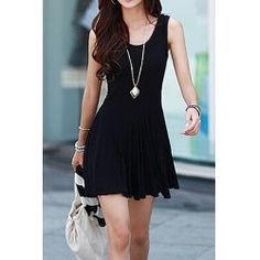 Brief Style Scoop Collar Sleeveless Solid Color Women's Dress