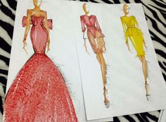 #barbie #collection #pink #yellow #fashion #design #sketches