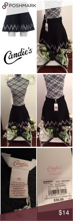 """New Candies Black & White Skater Knit Skirt New with tags, Candies Black & White Stretch Knit Skater Skirt. Cute!   Size Medium  Waist: 29"""" Hips: 39"""" Stretch, can allow for several more inches in stretch   Originally bought for a client, I'm currently cleaning out my client closets. Open to offers on bundles of multiple items only. 15% off bundles of 3+.   Free gift with every purchase! Your purchase goes towards the non-profit organization I'm founding! <3 Candie's Skirts"""