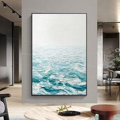 Acrylic Art, Acrylic Painting Canvas, Canvas Art, Blue Painting, Texture Painting On Canvas, Painting Frames, Large Wall Art, Framed Wall Art, Mountain Paintings