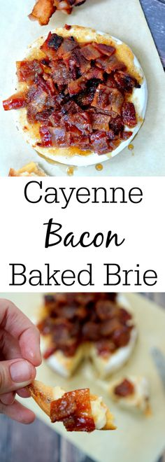 Your next party will be one to remember when you serve this Cayenne Candied Bacon Brie. Everyone will want a taste of this sweet and spicy brie appetizer! Brie Cheese Recipes, Baked Brie Recipes, Bacon Recipes, Cooking Recipes, Burger Recipes, Brie Appetizer, Yummy Appetizers, Appetizer Recipes, Fondue