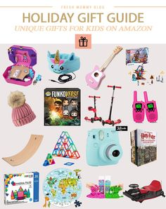 Click here for our KID-PICKED holiday gift guide with Unique Christmas Gifts for Kids on Amazon from mom of SIX, popular lifestyle blogger Tabitha Blue!   Fun and unique Christmas gifts for kids, both boys and girls, on Amazon (because you know you can get it in time!!!), and for the wide range of ages! By the way, this gift guide is made with the help of our kiddos, and what better experts at choosing kids gifts than KIDS!!!!