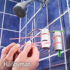 Use PVC pipe and plastic tie straps    Keep your razor from falling into the tub with this simple holder. Cut a 3-in. length of 1-in. PVC pipe with a handsaw. Cut two 1/8-in.-wide notches in the pipe. Strap the pipe to your wire shower caddy with two plastic tie straps hooked in the notches.
