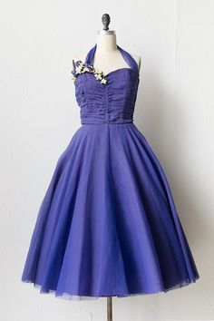 vintage 1950s purple tulle prom dress