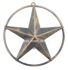 """Small 6.25/"""" Metal Barn Star With Smooth Ring Brushed Copper Finish Wall Decor"""