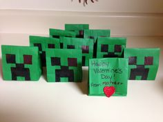 Minecraft Creeper Valentines!   So easy to make!
