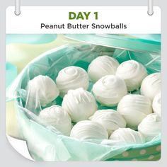 25 Days of Christmas Cheer :: Day 1 :: Peanut Butter Snowballs shared by Wanda Regula, Birmingham, Michigan