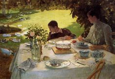 Colazione in giardino - Breakfast in the garden by Giuseppe De Nittis now in the Pinacoteca De Nittis in Barletta, Apulia. De Nittis was born in Barletta, Apulia, where he first studied under Giovanni Battista Calò. Pierre Bonnard, Expo Milano 2015, Salon Art, Italian Painters, Garden Painting, Manet, Tea Art, Art Database, Impressionism Art