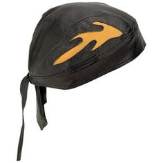 Diamond Plate™ Solid Genuine Leather Skull Cap with Orange Flames $18.95