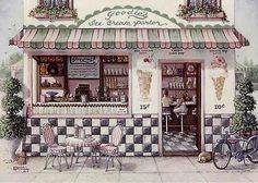 Global Gallery 'Goodie's' by Janet Kruskamp Vintage Advertisement on Wrapped Canvas Size: Old Fashioned Ice Cream, Vintage Ice Cream, Ice Cream Parlor, Soda Fountain, Candy Shop, Stretched Canvas Prints, Canvas Art, Canvas Size, Goodies