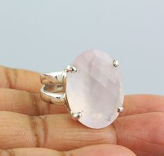 ROSE QUARTZ NATURAL GEMSTONE RINGS SILVER 925 STERLING JEWELRY 10.9 GM US 7.5  #Unbranded