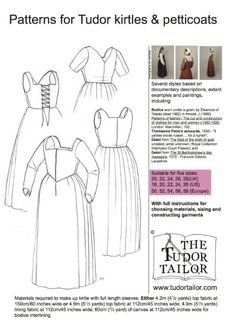 Pattern for Women's Tudor Kirtles and Petticoats - Large Sizes