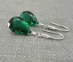 Green Quartz Earrings Green Christmas Earrings by KGeddesCreations