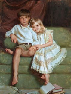 Tate and Ella by Adam Clague ~  Oil • 30'' x 40''  http://adamclague.com/works_portraits.html