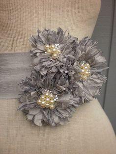 Items similar to wedding bridal sash handmade grey color sash on Etsy Flores Shabby Chic, Shabby Chic Flowers, Lace Flowers, Felt Flowers, Fabric Flowers, Wedding Flowers, Bridal Sash, Wedding Sash, Wedding Dress