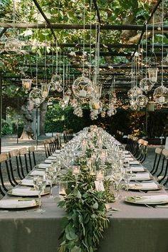 Outdoor wedding decor set up. Outdoor rustic wedding decor idea to plan a summer wedding. Garden Wedding Decorations, Wedding Themes, Hanging Decorations, Garden Weddings, Hanging Candles, Outdoor Weddings, Decor Wedding, Hanging Lights, Outdoor Decorations