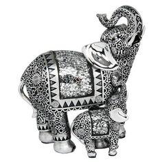 Large Silver Mirrored Elephant & Baby Ornament Figure Statue NEW and BOXED