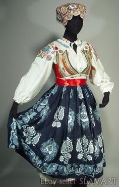 The skirt is handmade using age-old indigo block printing techniques and is a beautiful example of the regional style. Costume Shop, Folk Costume, Costumes, Folk Clothing, Historical Clothing, Folk Embroidery, Embroidery Patterns, Ethnic Dress, Embroidered Blouse
