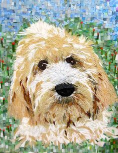 I created this approximately 10,000-piece mosaic portrait of an adorable Goldendoodle (Lily) as my model from her photos (also pictured above). It appears that Ive been able to catch her essence in glass with my own technique of using very small (some as small as 2mm) pieces of glass and am eager, not to just create generic breed-specific portraits, but individual, unique, dog-specific portraits - as realistic to the photograph as if I were painting them.  Each portrait takes me about 6…