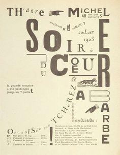 """ILIA ZDANEVITCH (1923) Programa para la la II obra dadaísta de Tristan Tzara, """"Le Coeur à Barbe,"""" estrenada dos años antes en la Feria Dada en París."""