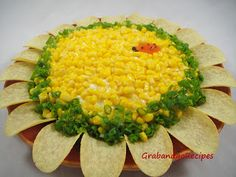 """Sunflower"" Layered Salad (1 can -12.5oz. chicken  1 can- 9 oz. sweet corn  1/2 cup marinated mushrooms-drained, chopped  2 medium carrots- boiled  3 eggs-boiled  5 green onions- chopped, white parts are separated from green  1 can potato Chips- Pringles, Original  3/4 cup mayonnaise  Salt and pepper)"