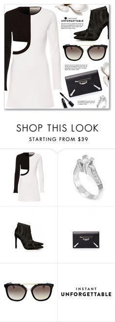 """Black & White"" by luvsassyselfie ❤ liked on Polyvore featuring Balenciaga, Prada and shadesofyou"