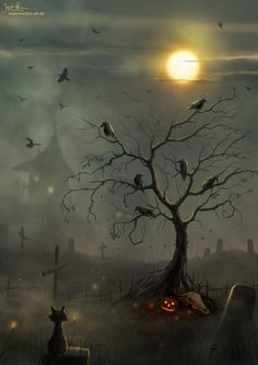 Halloween Tree, Full Moon Graphic Design Inspiration – Hauntings by Jeremiah Morelli