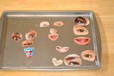 laminate facial feature cutouts from magazines and attach magnets with glue - use a cookie sheet - great car activity