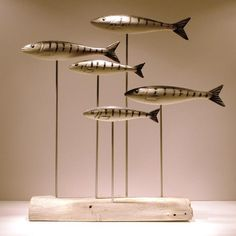 Wooden Fish Mackerel Shoal - CoastalHome.co.uk: Wooden Birds & Fish