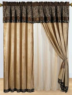 8 Pc Modern Safari - Zebra - Giraffe Print Brown Micro Fur Curtain Set by Grand Linen, http://www.amazon.com/dp/B0078I3374/ref=cm_sw_r_pi_dp_vJAjrb0CAG5MY