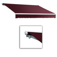AWNTECH 24 ft. Galveston Semi-Cassette Right Motor with Remote Retractable Awning (120 in. Projection) in Burgundy, Red