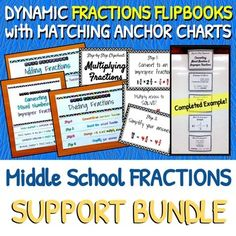 *HUGE 60% SAVINGS*These comprehensive, easy-to-follow Fractions Flip Books and DIY Anchor Chart Clipcharts will support your middle school math students throughout the learning process. Students will become more independent by using these Flip Books and Anchor Charts as their reminders.