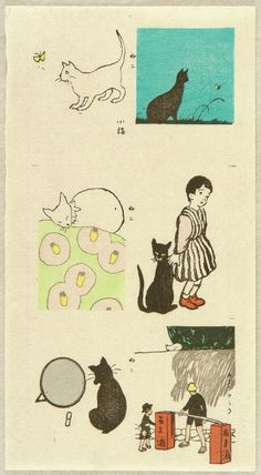 """Yumeji Takehisa 1884-1934 - Collection of Cats - Neko Zukushi - Ca.1932-33 """"Neko Zukushi"""" (Collection of Cats). The very rare uncut collection of cat prints in one sheet. Yumeji Takehisa has been considered as the main figure who propelled """"Taisho romanticism"""". The dreamy, fragile looking girls Yumeji invented in his works were so popular during 1900 - 1930s that they became the cultural icon of the Taisho - early Showa era. Many artists imitated this """"Yumeji Look"""" in order ..."""