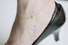sideway cross anklet anklets for womengold by LETTERSEARRING, $11.80