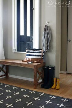 Blue and white entryway.