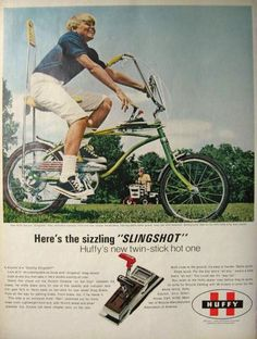 "Original vintage magazine ad for the Huffy ""Slingshot"" Rail bicycle with twin stick console. Tagline or sample ad copy: Huffy's new twin-stick hot one Publication Year: 1969 Approximate Ad Size (in inches): 10 x Condition: VG Retro Advertising, Vintage Advertisements, Vintage Ads, Vintage Stuff, Banana Seat Bike, Raleigh Chopper, Davidson Bike, Harley Davidson, Retro Bike"